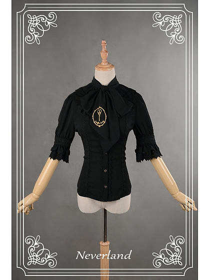 Detachable Collar Embroidery Decorated Lace Up Lolita Shirt - Roger & Gallet by Souffle Song