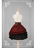 Punk Plaid Printed Tiered Knee Length Lolita SK - Metallic Mary by Souffle Song