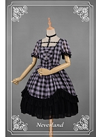 Punk Style Plaid Printed Halter Cross Lolita OP - Metallic Mary by Souffle Song