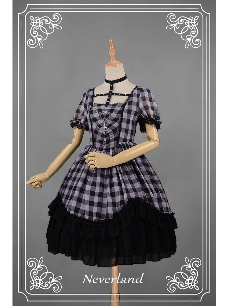dd4ef20fb2 Punk Style Plaid Printed Halter Cross Lolita OP - Metallic Mary by Souffle  Song