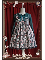 Rabbit Poker Printed High Waist Long Sleeves Lolita OP - Rabbit&Poker by Infanta