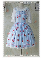 Cherry Printed Bowknot Decorated Pleated Lolita JSK - Cherry by Infanta