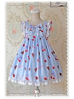 Cherry Printed Short Fly Sleeves High Waist Lolita JSK - Cherry by Infanta