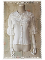 Sweet  Chiffon Half Stripe Puff Sleeves Blouse - by Infanta