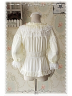 Scoop Neckline Sweet Puff Stripe Sleeves Lolita Blouse - by Infanta