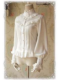 Princess Style High Collar Long Sleeves Blouse - by Infanta