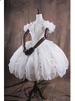 Shiro V-Neck Short Fly Sleeves Floral Pick-up Skirt Lolita Wedding Dress - Elegy by Classical Puppets