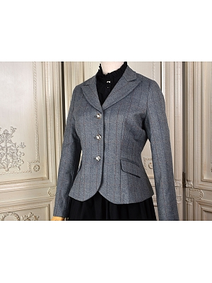 Retro Strip Long Sleeve Short Wool Suit Jacket by 69th Department