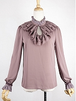 Elegant Ruffled High Collar Chiffon Blouse by the 69th Department