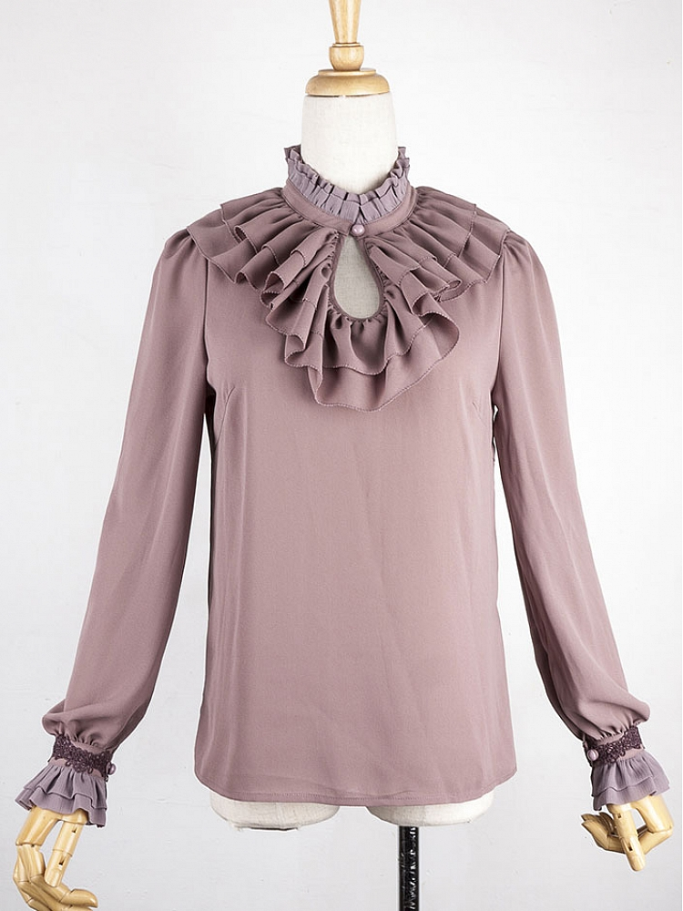 newest collection premium selection best price [$89.00]Elegant Ruffled High Collar Chiffon Blouse by the 69th Department