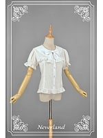 Lace Sailor Style Collar Short Puff Sleeves Lolita Shirt - Beckoning Cat by Souffle Song