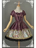 Sweet Bowknot Decorated Neckline Short Puff Sleeves Lolita Mini OP - Mucha by Souffle Song