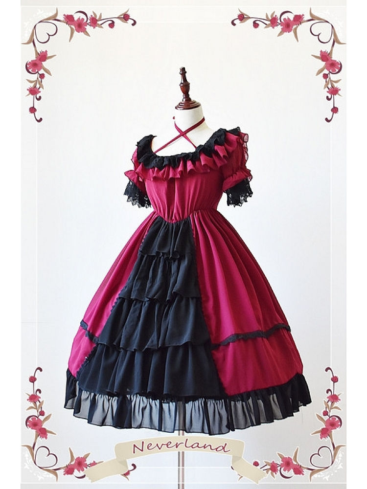 151f5c482e8 Criss Cross Halter Neckline Open Front Skirt Lolita Dress with Free Corset  - Colorful Fairy Tale by Souffle Song