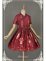 Short Sleeves Lolita OP with A-line Pleated Skirt Qi Lolita Dress - Chinese Palace Lanterns by Souffle Song