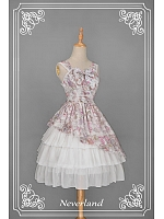 Custom Size Available Square Neckline JSK with Asymmetric Hem Overlay Skirt - Ancient Clocks by Souffle Song