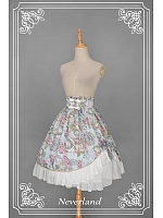 Custom Size Available Sweet Natural Waist A-line Pleated Skirt with Asymmetric Hem - Ancient Clocks by Souffle Song
