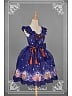 Custom Size Available Sweet Printed JSK with Bowknot Decoration and Tulle Overlay Skirt - Beckoning Cat by Souffle Song