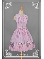 Custom Size Available Natural Waist JSK with Detachable Sailor Style Collar - Beckoning Cat by Souffle Song