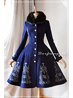 Lace Wide Collar Long Sleeves Coat with A-line Skirt - The Pantheon of Elements by Surfacespell