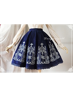 A-line Pleated Embroidery Skirt - The Pantheon of Elements by Surfacespell