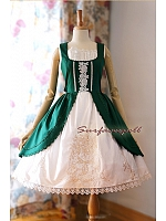 Square Neckline Embroidery JSK with Open Front Overlay Skirt - by Surfacespell