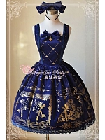Square Neckline Lolita JSK with Gold Printings - Cross Lyrics by Magic Tea Party