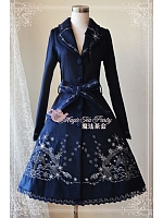 V-neck Embroidery Long Coat with Waistbands - Winter Mass by Magic Tea Party
