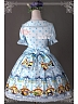 Wide Collar Short Puff Sleeves Printed OP - The Rabbits of Easter by Magic Tea Party