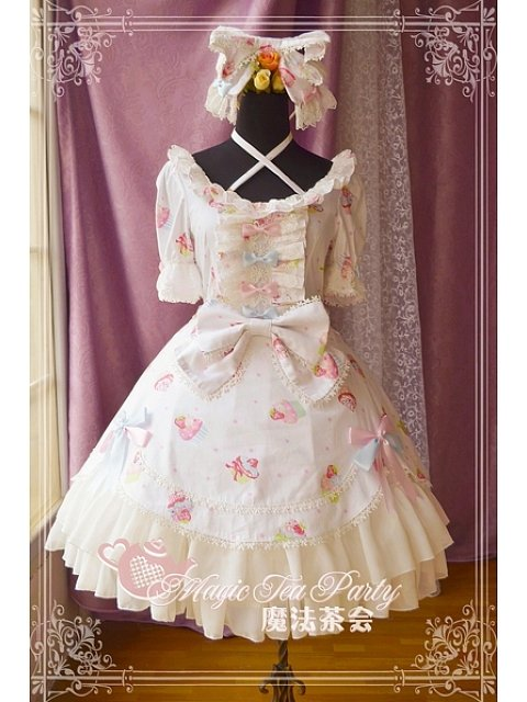 ON SALE-Criss Cross Halter Neckline Short Sleeves OP - Sweet Cake Party by Magic Tea Party