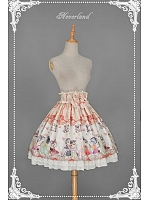 Custom Size Available Ruffle Trimmed Waist Pleated Skirt with Cats Printings - Chinese Walking Cat by Souffle Song