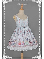 Sweet Cats Printed JSK with Adjustable Tank Straps - Chinese Walking Cat by Souffle Song