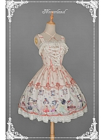 Criss Cross Halter Neckline Cats Printed JSK with A Detachable Bow At Waist - Chinese Walking Cat by Souffle Song