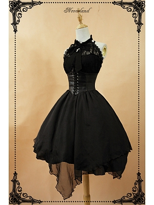 Custom Size Available High Collar Halter Neckline Lolita JSK with Removable Open Bust Corset - Spectre Prelude by Souffle Song