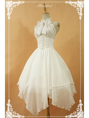 Custom Size Available Halter Neckline Lolita JSK with Cross-back Straps Back - Spectre Prelude by Souffle Song