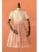 Fake Two-Pieces Short Sleeves Collared Bodice Knee Length Retro Dress by Lace Garden