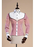Lapel Collar Long Tight Sleeves Stripe Shirt by Lace Garden