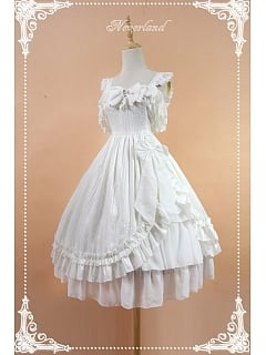 Custom Size Available White Empire Waist Lolita JSK with A-line skirt - Mermaid's Tears by Souffle Song