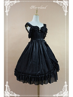 Custom Size Available Black Empire Waist Lolita JSK with Lace Flounce Trimmed Straps - Mermaid's Tears by Souffle Song