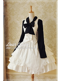 High Waist Lolita SK with Asymmetric Overlay - Empty Sky by Dear Celine