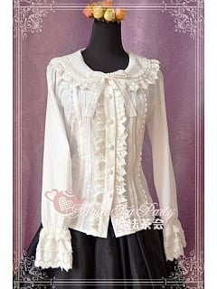 Flounce Wide Collar Long Sleeves Shirt with A Bow Decorated On The Bust - Cultivates qi by Magic Tea Party