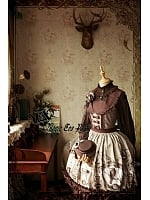 Flounce Trimmed Wide Collar JSK with Lace Up Back Bodice - Raven and Writing-desk by Magic Tea Party