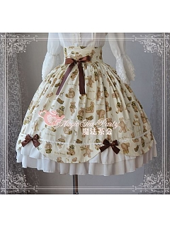Cute Bear Printed Lolita JSK with Bows Decoration - by Magic Tea Party