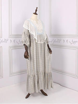 Country Dress Dropped Shoulders Sleepwear Cotton Pajamas by Angel fields