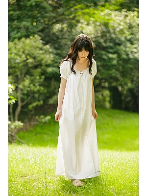 Sweet Nightgown Cotton Pajamas Dress by Angel fields
