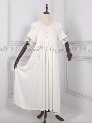 Cotton Vintage Short Sleeves Dress Pajama Nightgown by Angel fields