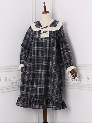 Plaid Peter Pan Collar Vintage Pajama Dress by Angel fields