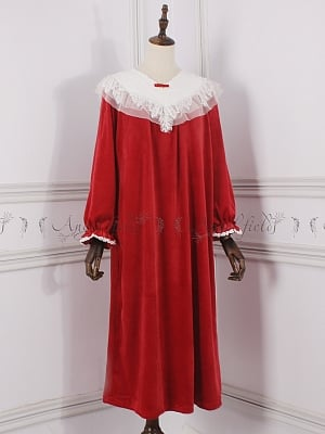 Four Colors Velvet Princess Vintage Nightgown Pajama by Angel fields by Angel fields
