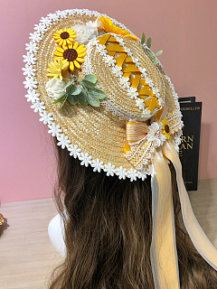 Sunflowers Lolita Floral Hat by Alice Girl