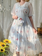 Summer Sheer Overdress with Pink or Blue Ribbon Decorated Short Sleeves - Cherry Plates by Alice Girl