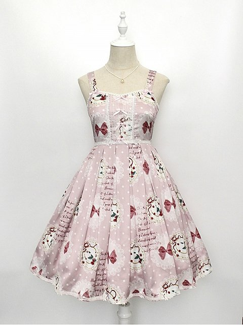 Simple Design Sweet Lolita JSK with Cherries and Bowknots Prints - Cherry Plates by Alice Girl